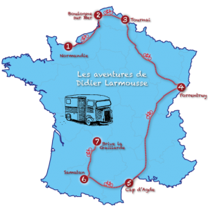 Map of Didier's route around France